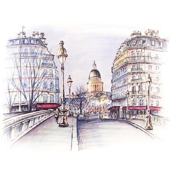 冬の朝、フランス、パリのパンテオンにあるシテ島近くのセーヌポンルイフィリップ川を渡る橋。絵で作ったマーカー