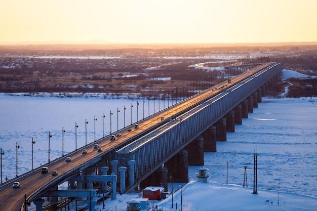 Bridge over amur river in khabarovsk, russia