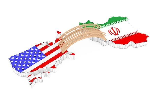 흰색 배경에 미국과 이란 사이의 다리. 3d 렌더링