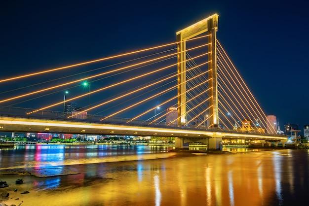 Bridge and city skyline in ningbo, china