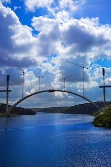 Bridge construction along tajo river in spain