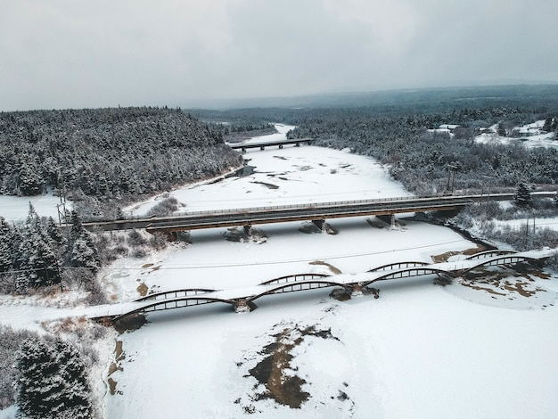 Bridge covered with snow in forest