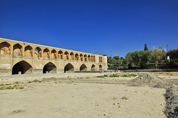 The bridge over dry river in isfahan, iran