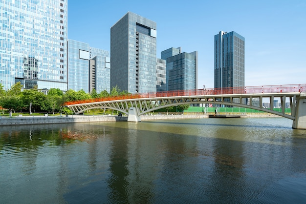 Bridge and financial center office building in ningbo east new town, china