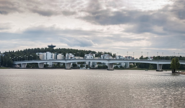 Bridge and houses, jyvaskyla, finland. panorama