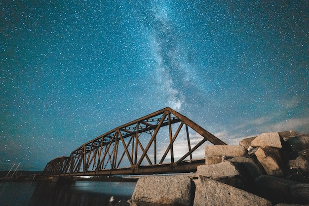 Bridge at night with starry sky