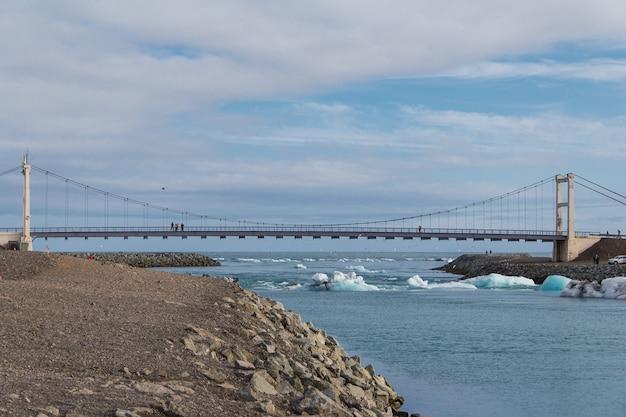 アイスランドの氷河ラグーンに架かる橋