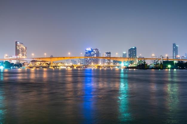 Bridge over river in bangkok city.