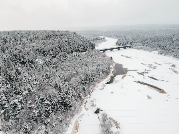 Bridge on river near forest covered with snow