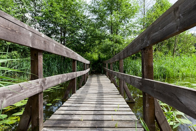 A bridge between small islands on the lake, old wooden bridge built on the lake