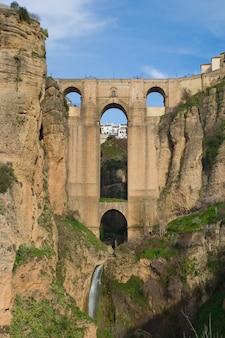 Bridge that divides the city of ronda, malaga, spain
