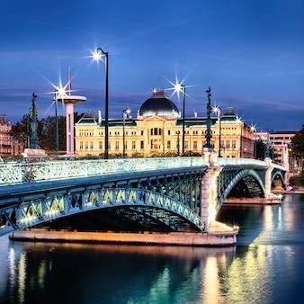 Bridge of university in lyon by night