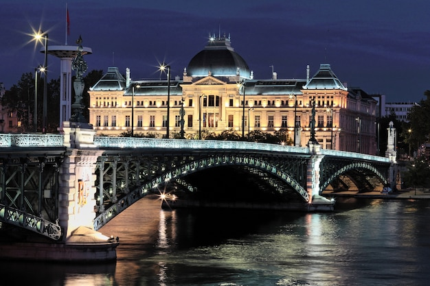 Bridge and university in lyon by night