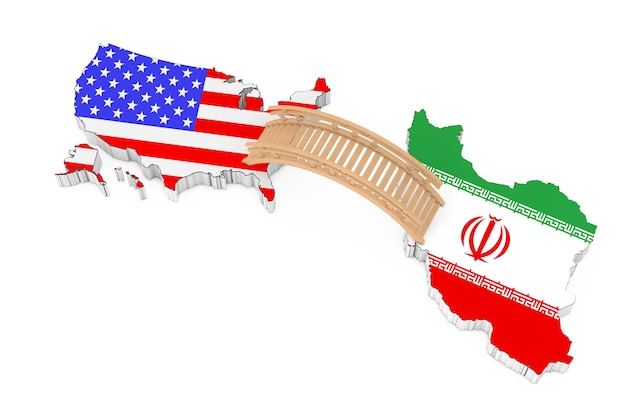 Bridge between usa and iran on a white background. 3d rendering