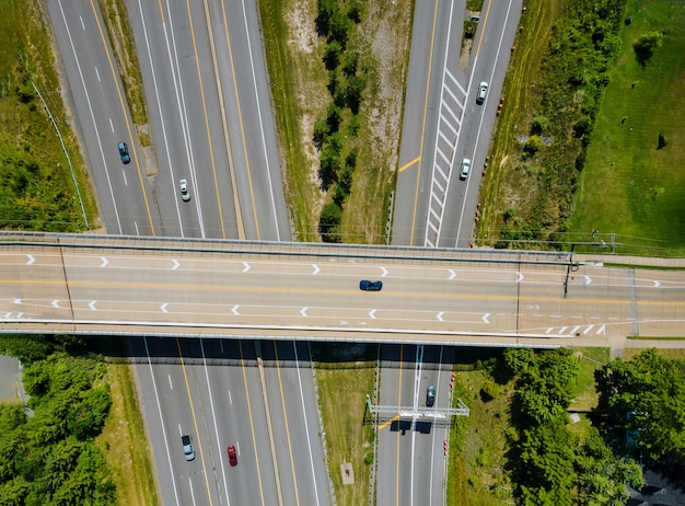 Bridges, roads top aerial view of highway of urban elevated road junction and interchange overpass in city with traffic cleveland ohio usa