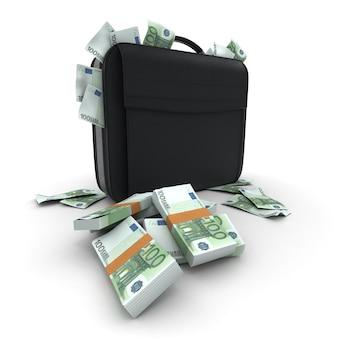 Портфель с большим количеством наличных, банкнот за сто евро