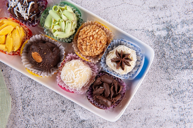 Brigadeiro. typical brazilian sweet. many types of brigadiers together.top view
