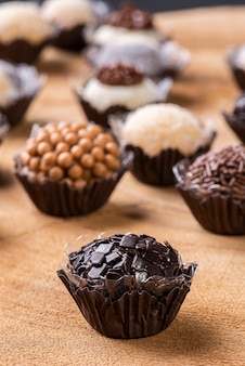 Brigadeiro. typical brazilian sweet. many types of brigadiers together