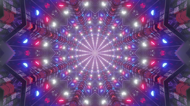 Bright 3d illustration 4k uhd abstract visual background of sci fi tunnel with symmetrical geometric design and glowing neon lights in colors of american flag