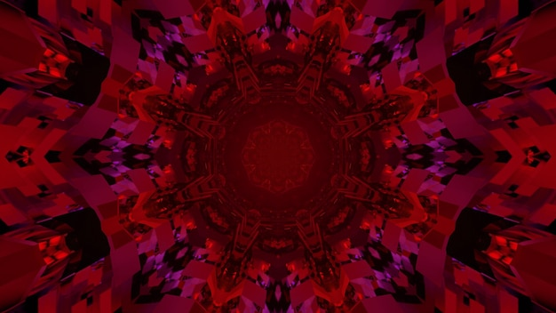 Bright 3d illustration abstract art visual background with red colored kaleidoscope geometric flower pattern and blinking lights