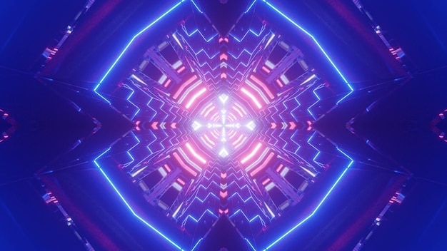 Bright 3d illustration of abstract background with blue tunnel illuminated with colorful neon lines