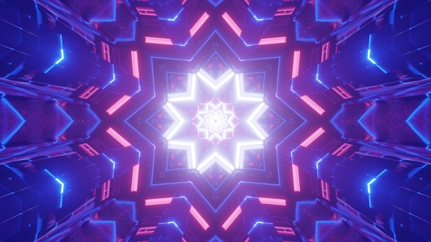 Bright 3d illustration abstract background with kaleidoscopic geometric  and star shaped neon illumination in pink and purple colors