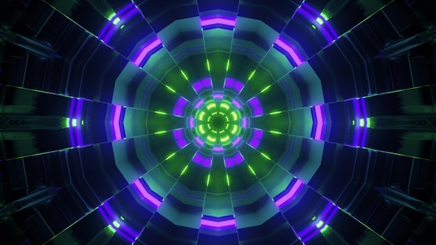 Bright 3d illustration abstract geometrical  inside of round shaped tunnel with multicolored neon illumination