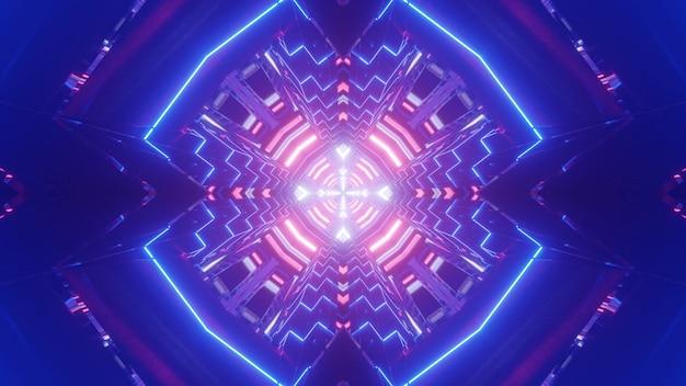 Яркая трехмерная иллюстрация абстрактного фона с синим туннелем, освещенным красочными неоновыми линиями