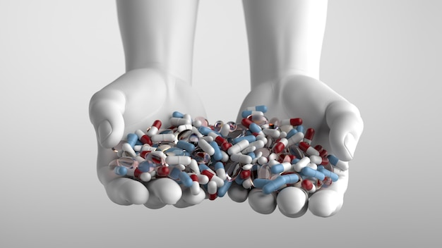 Bright 3d render  with colored and transparent pills on white hands. blue, red colors. soft light and shadows.