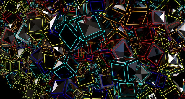 Bright abstract background with cubes. 3d rendering.