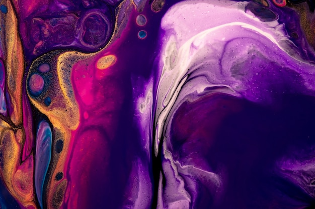 Bright abstract fluid art background purple and white colors