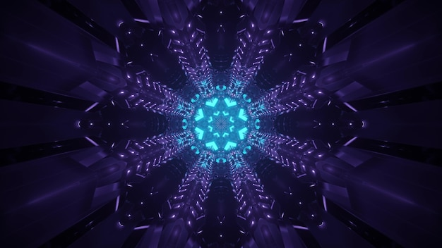 Bright abstract futuristic background with glowing blue neon circle and purple beams in darkness creating illusion of fantastic tunnel