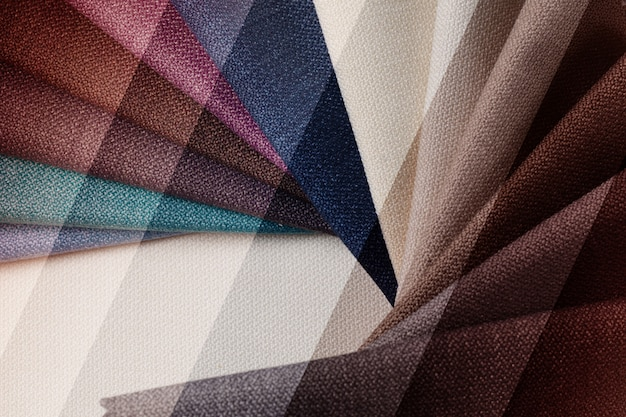 Bright abstract graphic background with gunny textile samples