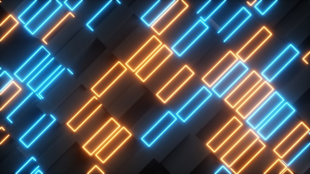 ネオンの要素を持つ明るい抽象的な長方形