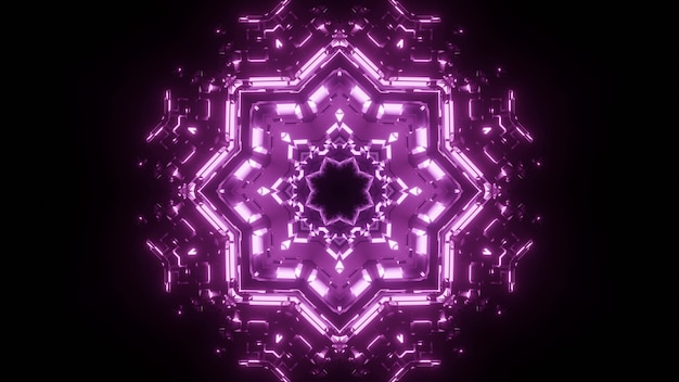 Bright abstract visual background with radiant neon purple geometric flower shaped ornament glowing in darkness