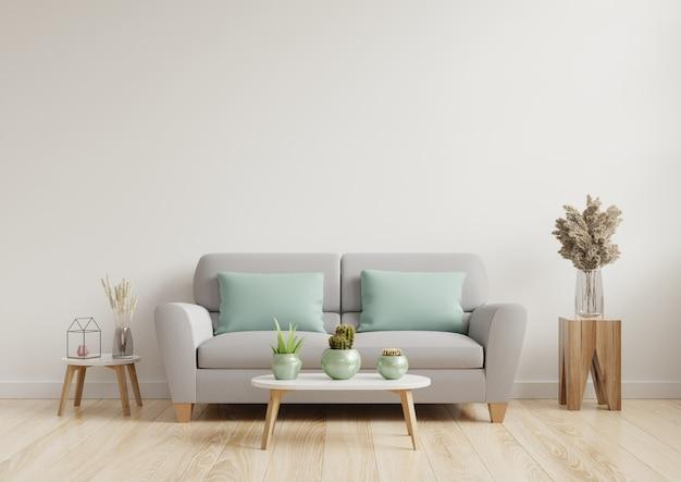 明るく居心地の良いモダンなリビングルームのインテリアには、白い壁にソファとランプがあります。