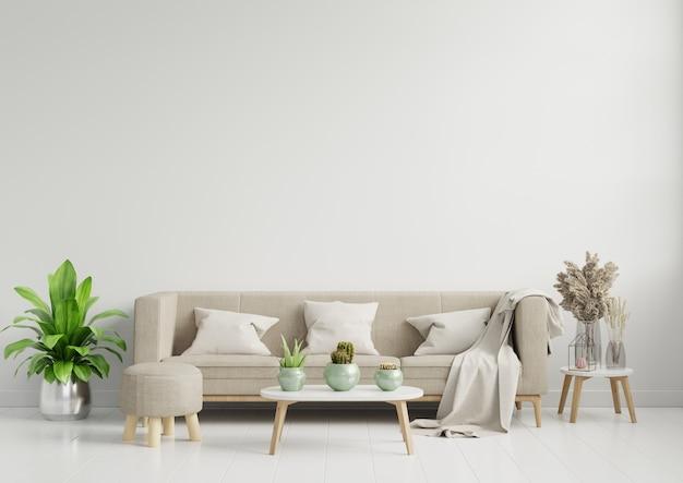 В ярком и уютном современном интерьере гостиной есть диван и лампа с белой стеной.