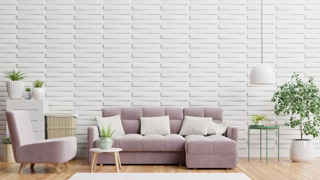 В ярком и уютном современном интерьере гостиной есть диван, кресло и лампа с белой стеной 3d-рендеринга.