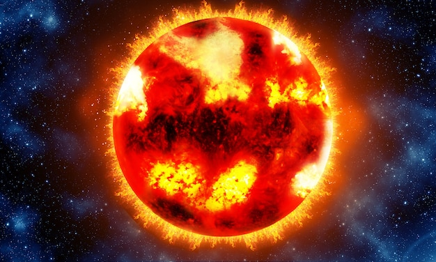 Яркое и горячее оранжевое солнце на черном космическом фоне 3d визуализации