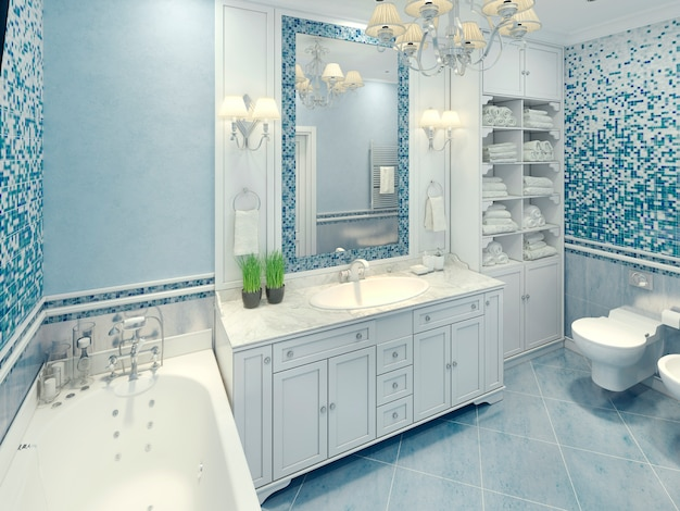Bright art deco bathroom interior with white furniture and fragments of mosaic wall.