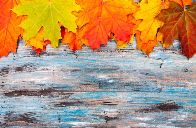 오렌지와 레드 메이플의 밝은을 배경 블루 빈티지 배경에 나뭇잎
