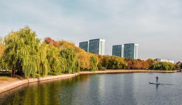 銀行に柳があり、supボードに男のシルエットがあるモスクワの都市公園の明るい秋の風景。