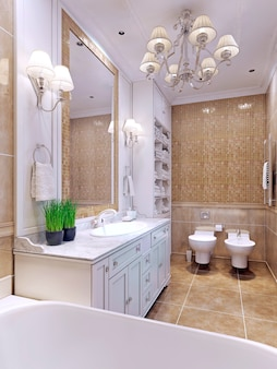 Bright bathroom classic style with a large mirror and mosaic wall tiles beige color.