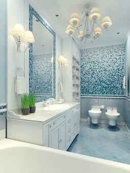 Светлая ванная комната в классическом стиле с белой мебелью и унитазом и биде.