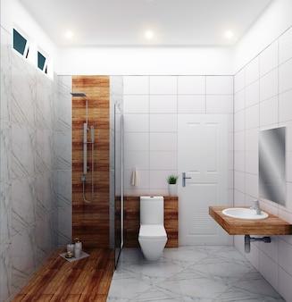 Bright bathroom design tiles white modern style. 3d rendering