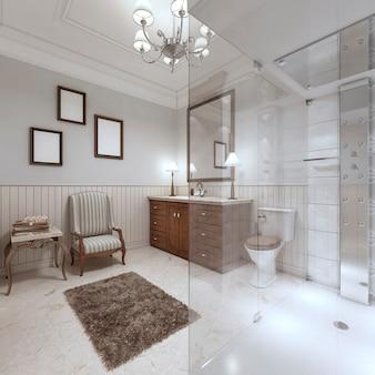 대형 유리 샤워실과 갈색 욕조 가구가 있는 영국 스타일의 밝은 욕실. 3d 렌더링.