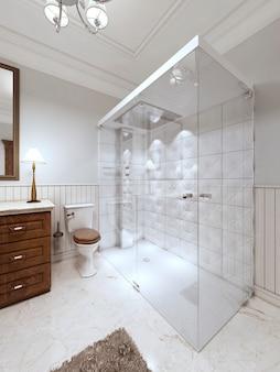 Светлая ванная комната в английском стиле с большой стеклянной душевой кабиной и коричневой мебелью для ванны. 3d визуализация.