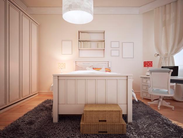 明るい寝室のアールデコ様式。
