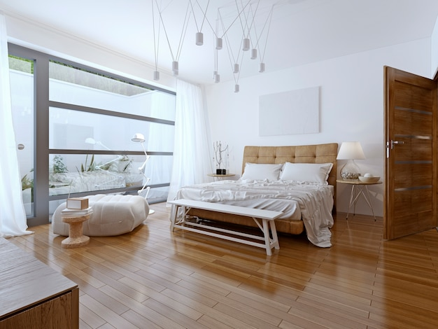 Светлая спальня в современном стиле и балкон с красивым видом.