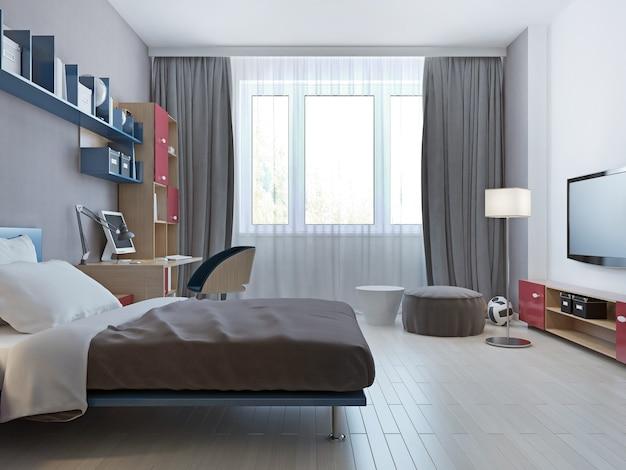 어린 이용 싱글 침대가있는 밝은 침실 미니멀 스타일.